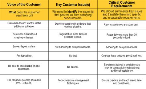 voice of the customer template developing e learning the six sigma way