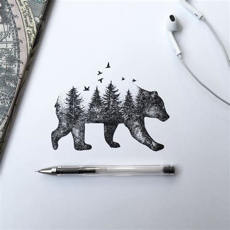 tattoo pen canada pen ink depictions of trees sprouting into animals by