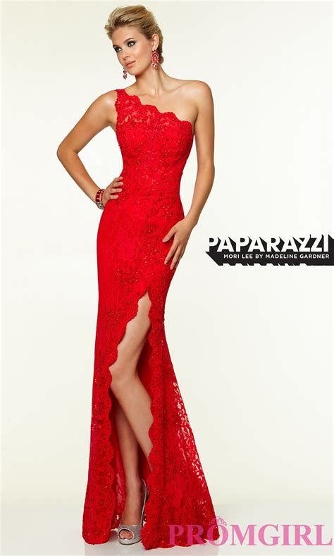 one shoulder evening gown one shoulder lace evening gown by mori
