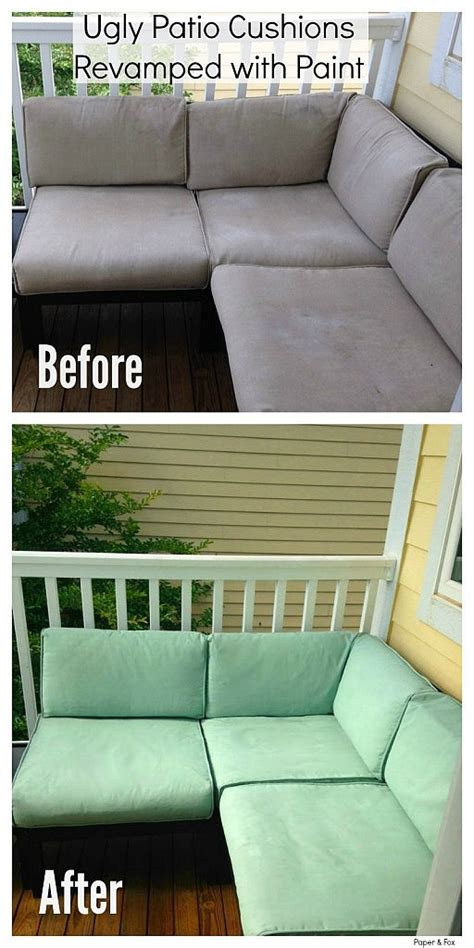 Ugly Patio Cushions Revamped with Paint   Painting Fabric