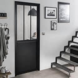 bloc porte noir atelier verre clair artens h 204 x l 73