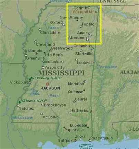 physical map of mississippi mississippi map