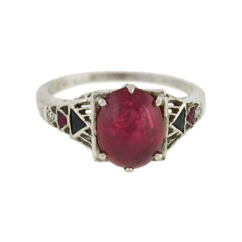 art deco platinum ruby cabochon onyx diamond ring ct