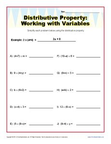 Distributive Property With Fractions Worksheet