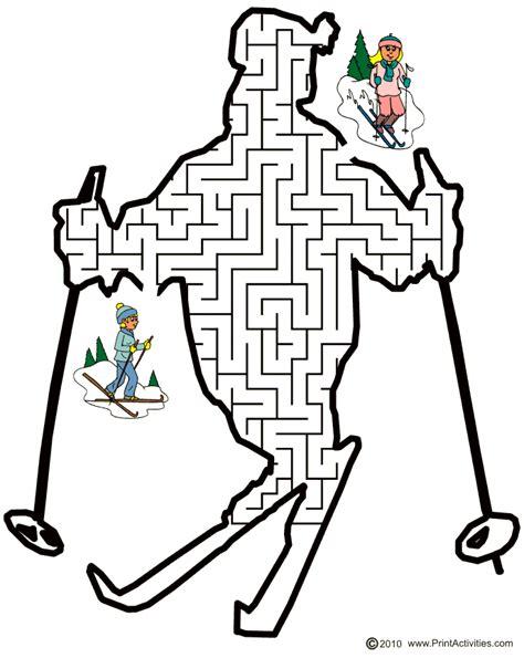 printable winter maze ski maze free printable skier shaped maze