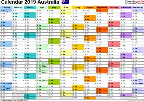 A Calendar Australia Calendar 2019 Free Printable Pdf Templates