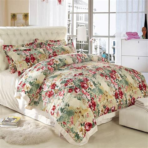 bedding inn com country style flower print sandedcloth material 4 piece