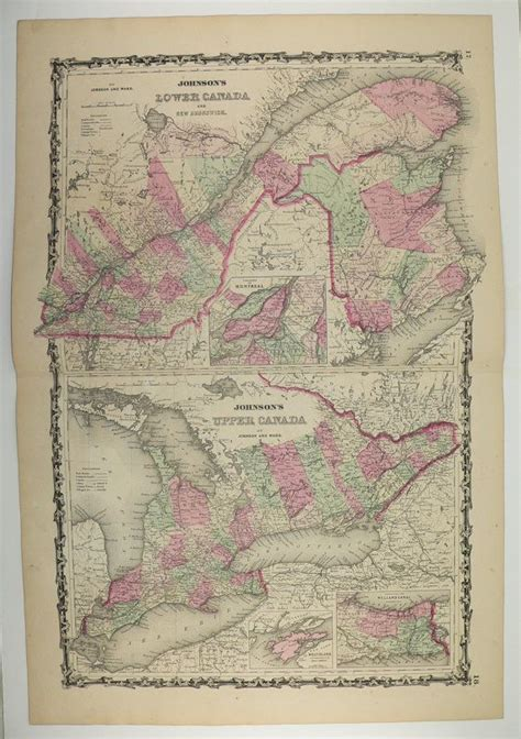canadian map gifts antique map ontario canada map 1862 johnson map