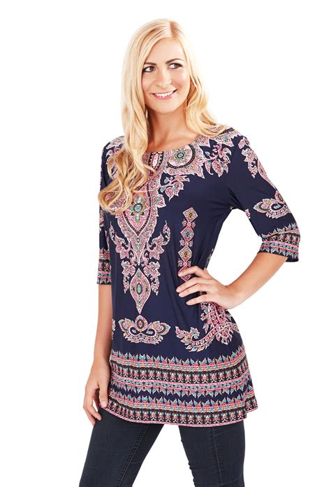womens paisley tunic top navy blue summer blouse