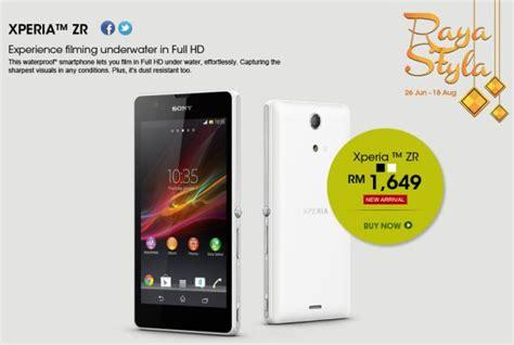 Hp Sony Xperia In Malaysia sony xperia zr now available in malaysia at rm1 659