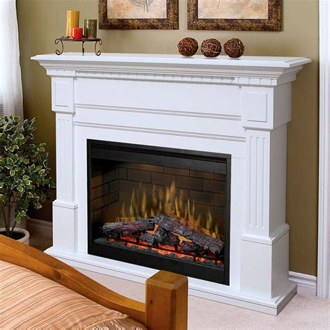 dimplex essex electric fireplace mantel package in white
