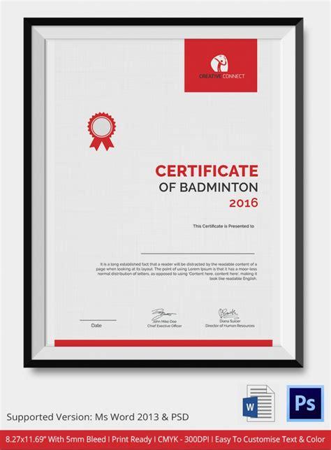 Certificate Letterhead 5 badminton certificates psd word designs design