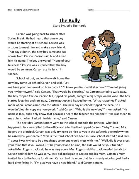 Free Reading Comprehension Worksheets For 2nd Grade by Reading Comprehension Worksheet The Bully