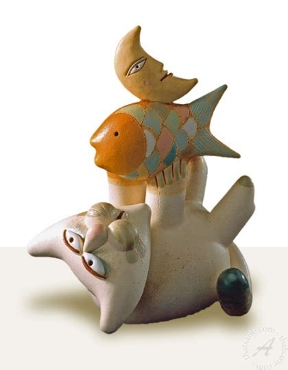 Stelan Fish Cat handmade italian ceramic home decor by r biavati cat