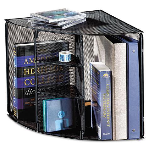 corner desk tops mesh corner desktop shelf by rolodex rol62630