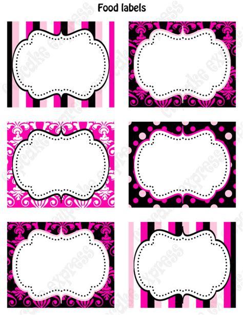 Lil Dot Favor Sleeve Stripe printable food labels favor tags pink black white polka dots damask stripes