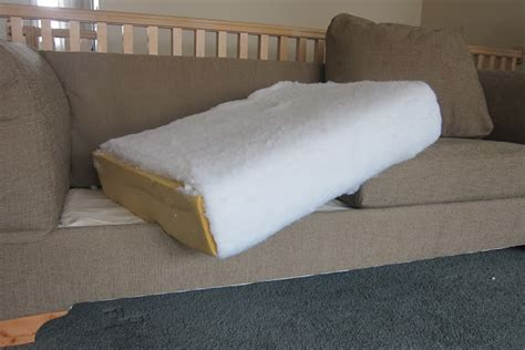 diy couch cushions use spray glue to secure the batting to the foam cushion