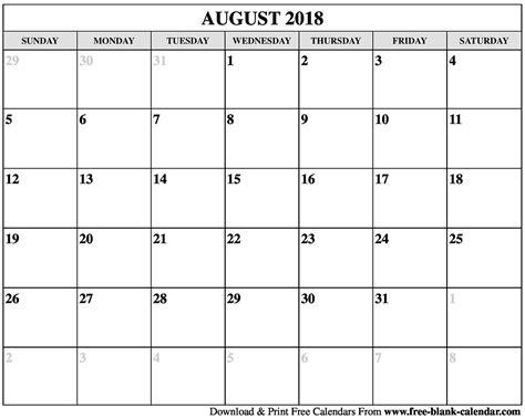printable calendar for 2018 blank august 2018 calendar printable