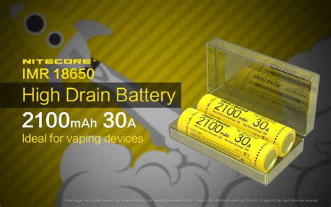 Baterai Vaping Baterai Vape Baterai Rokok Elektrik 18650 2200 Mah Nitecore Imr18650 Baterai Vape 2100mah 30a 3 7v Yellow