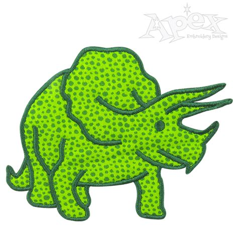 embroidery applique design dinosaur triceratops applique embroidery design