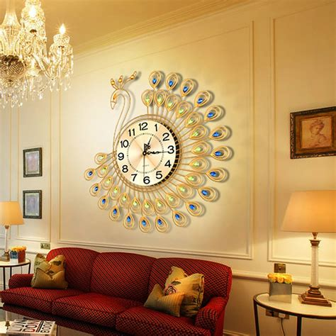 metal home decor creative gold peacock large wall clock metal living room