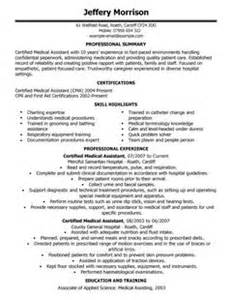 medical assistant cv example for healthcare livecareer