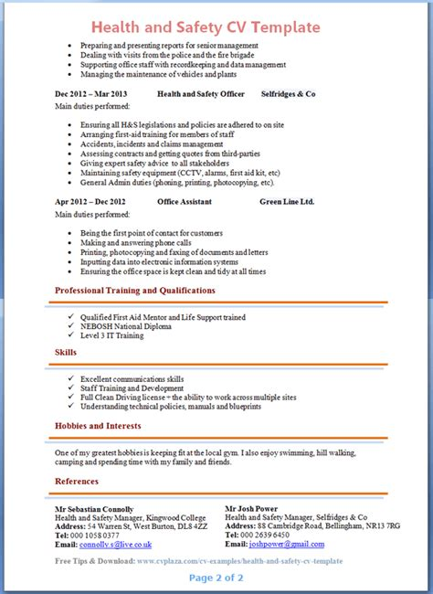 health and safety advisor cv exle 2