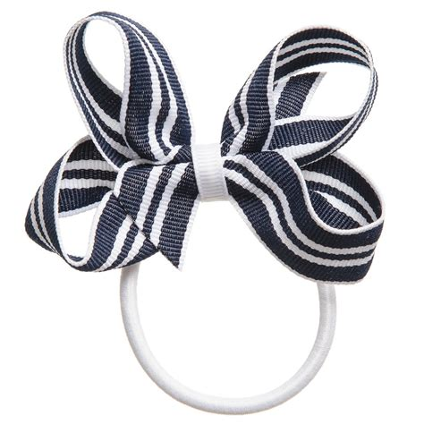 Striped Elastic Hair Band Blue ribbons navy blue white striped ribbon bow