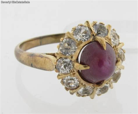 antique deco ruby white sapphire 14k yellow gold