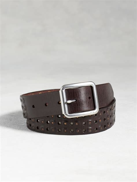 varvatos leather studded belt in brown for lyst