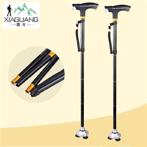 folding walking stick with light four legs led light walking stick folding walking cane