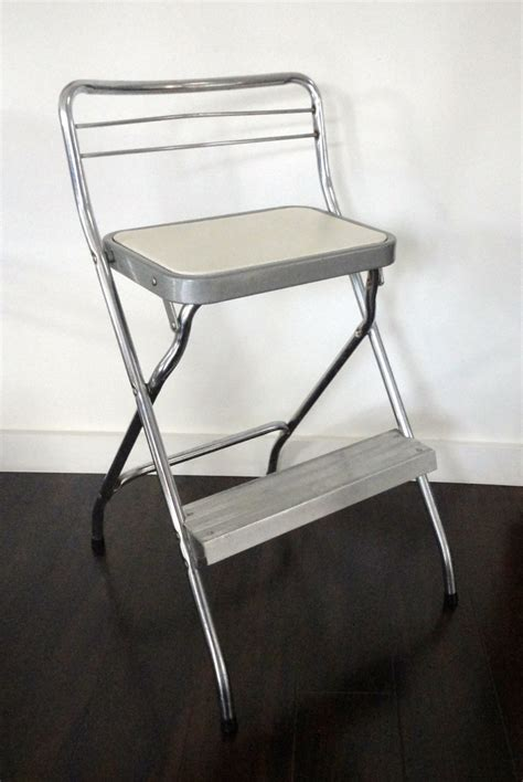 Step Stool Chair by Vintage Step Stool Chair Cosco Chrome And White By Kimbuilt