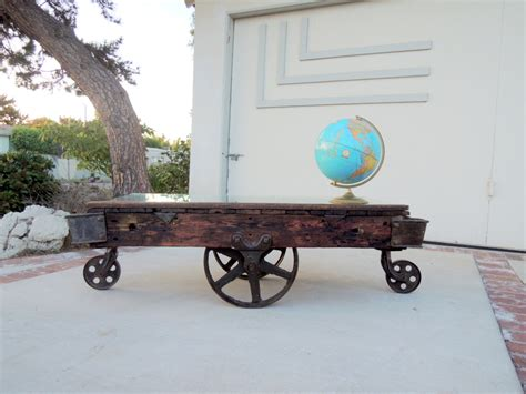 Railroad Cart Coffee Table Industrial Railroad Cart Coffee Table Los By Housecandyla