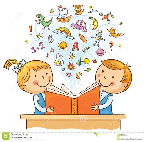 enfants lisant un livre ensemble illustration de vecteur