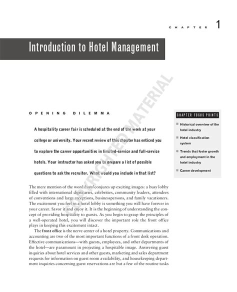 Introduction Letter For Hotel Marketing Introduction To Hotel Management