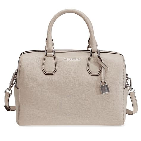 Michael Kors Leather Duffle Bag by Michael Kors Mercer Pebbled Leather Duffle Bag Cement