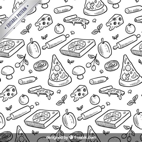 hand drawing pattern photoshop hand drawn pizza pattern vector premium download