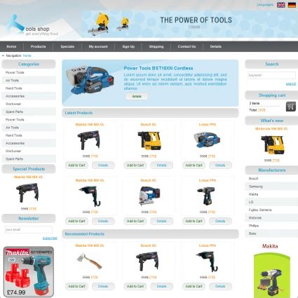 template store tools shop template free website templates in css html