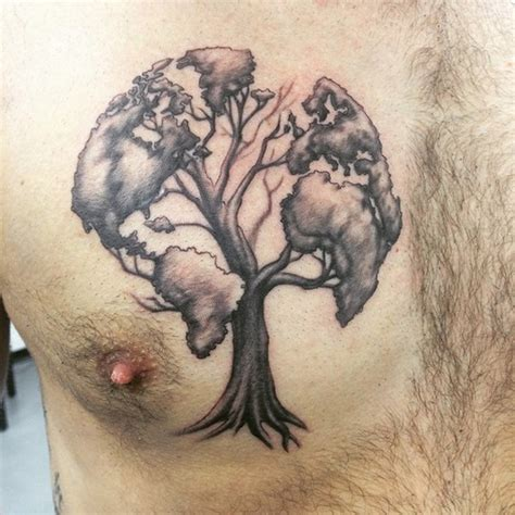 unique globe tree chest piece best tattoo design ideas