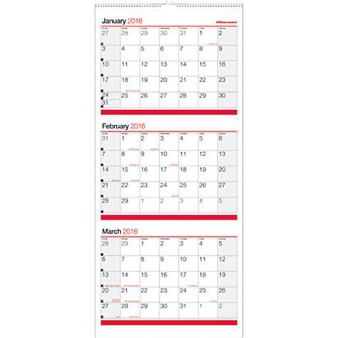 3 Month Wall Calendar Office Depot Brand 3 Month Reference Wall Calendar 12 X 27