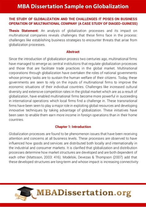 Mba Agreement by Mba Dissertation Sle On Globalization