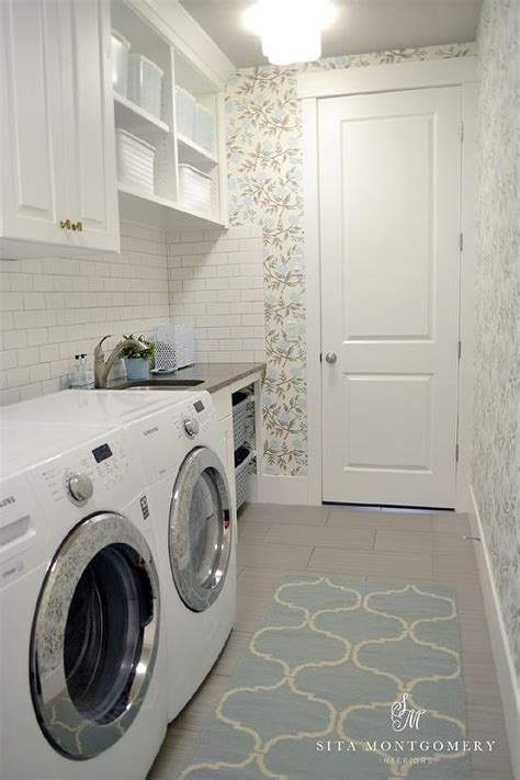 grey laundry room blue block print laundry room wallpaper with orange shade transitional laundry room