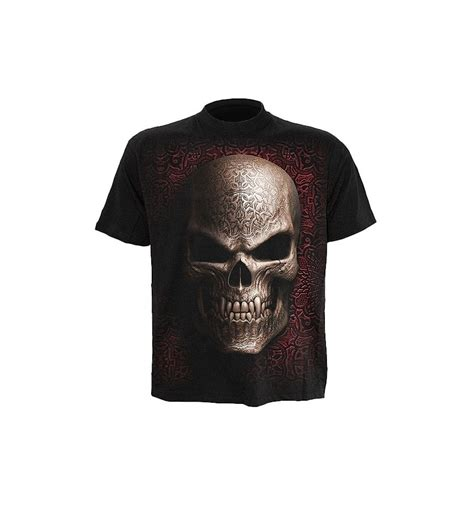 black skull t shirt for by spiral clothing