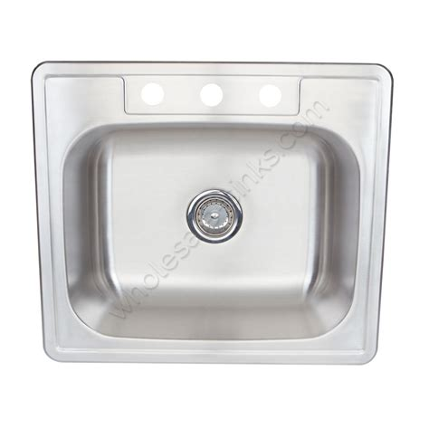 stainless steel overmount sink single bowl 3holes small