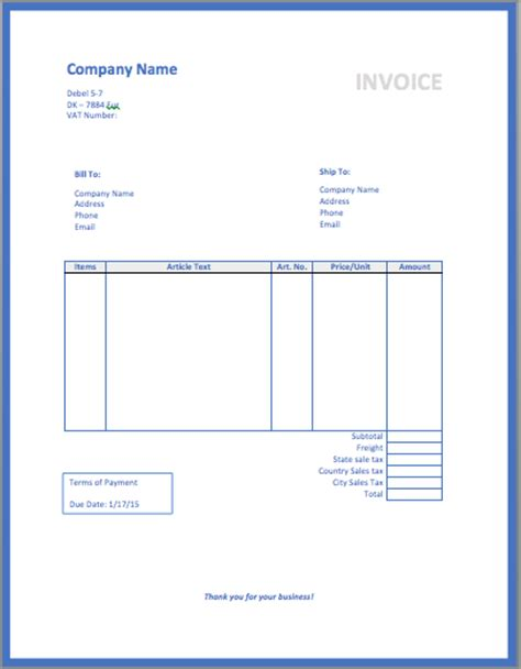 small business invoice template format amp template
