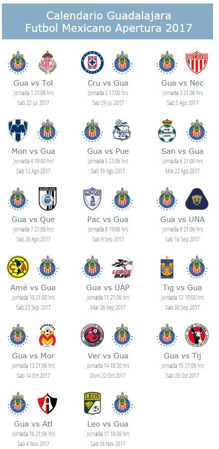 Calendario Liga Futbol Calendario De Pumas Unam Para El Apertura 2017 Futbol