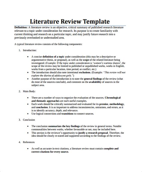 Literature Review Template by 8 Sle Literature Reviews Sle Templates