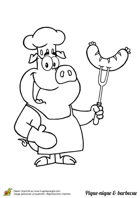 Coloriage pique nique barbecue cochon sur Hugolescargot.com