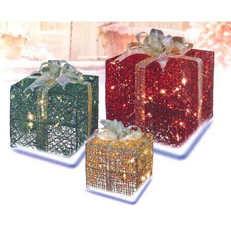 northlight 3 box outdoor set y76231 3 glittering gift box lighted yard decoration set walmart