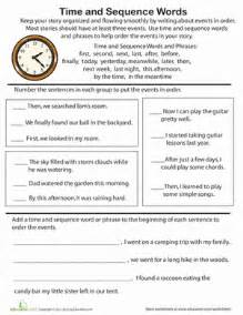 time and sequence words practice worksheet education com